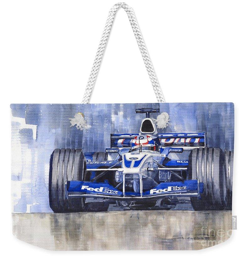 Watercolour Weekender Tote Bag featuring the painting Williams Bmw Fw24 2002 Juan Pablo Montoya by Yuriy Shevchuk