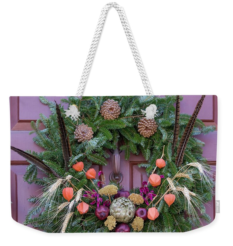 2015 Weekender Tote Bag featuring the photograph Williamsburg Wreath 92 by Teresa Mucha