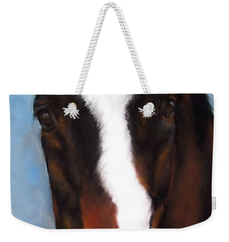 Horse Painting Weekender Tote Bag featuring the painting Willie Duke by Frances Marino