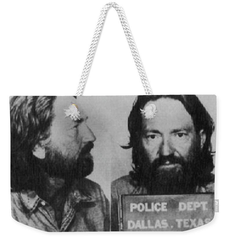 Willie Nelson Weekender Tote Bag featuring the photograph Willie Nelson Mug Shot Horizontal Black And White by Tony Rubino