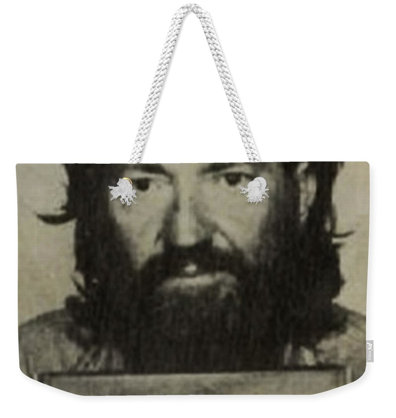 Willie Nelson Weekender Tote Bag featuring the photograph Willie Nelson Mug Shot Vertical Sepia by Tony Rubino