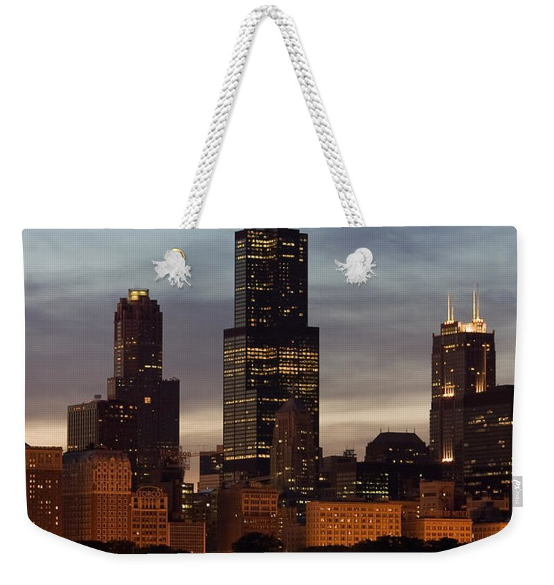 3scape Photos Weekender Tote Bag featuring the photograph Willis Tower At Dusk Aka Sears Tower by Adam Romanowicz