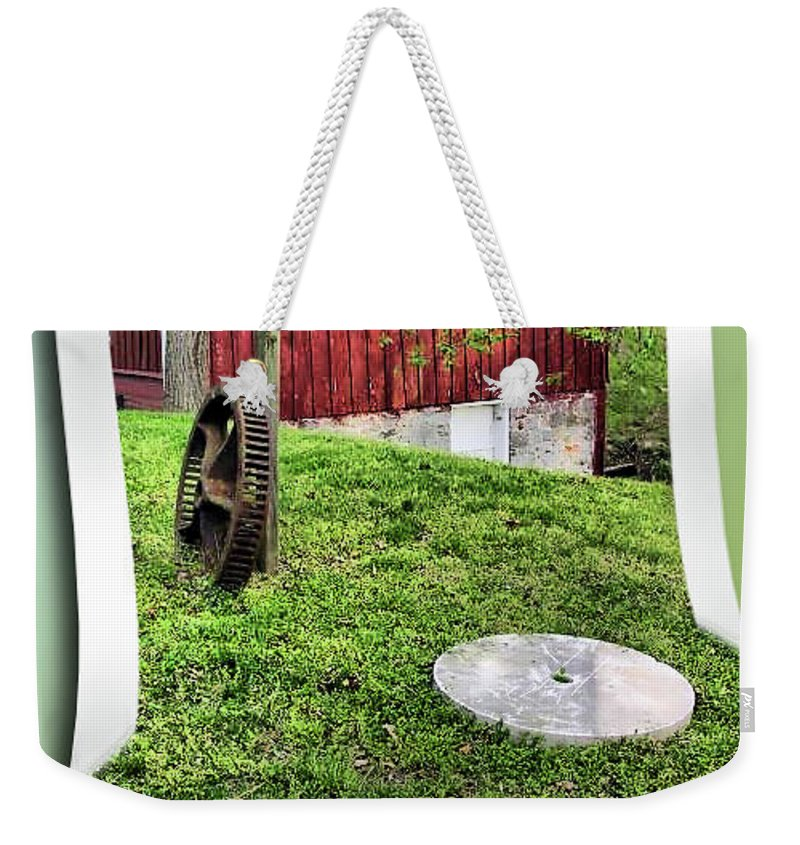2d Weekender Tote Bag featuring the photograph Williston Mill And Grist Wheels by Brian Wallace