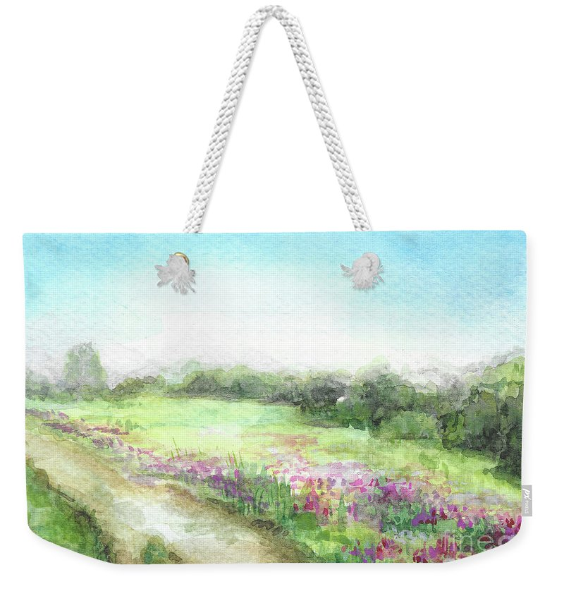 Willow Weekender Tote Bag featuring the painting Willow-herb by Yana Sadykova