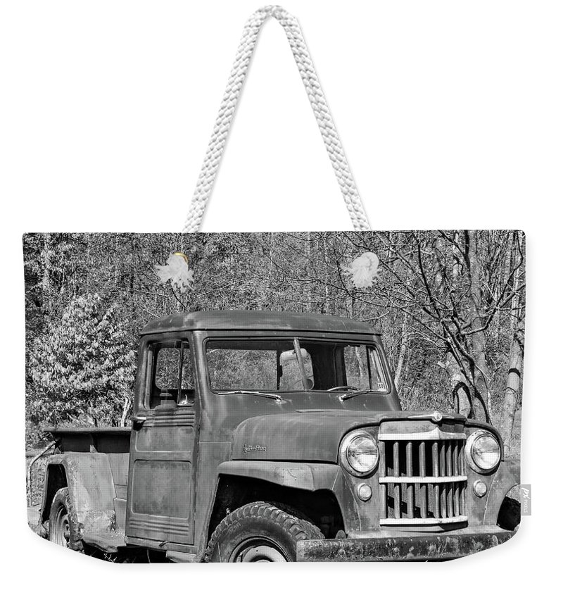 Vehicle Weekender Tote Bag featuring the photograph Willys Jeep Pickup Truck Monochrome by Steve Harrington