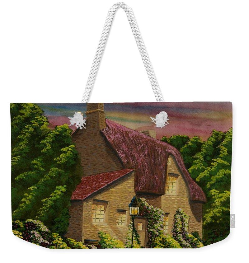 Sunset Weekender Tote Bag featuring the painting Wiltshire At Sunset by Charlotte Blanchard