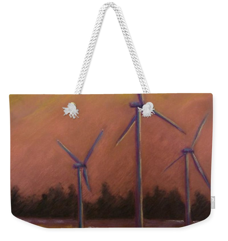 Wind Turbine Weekender Tote Bag featuring the pastel Wind And Wheat by Pat Snook