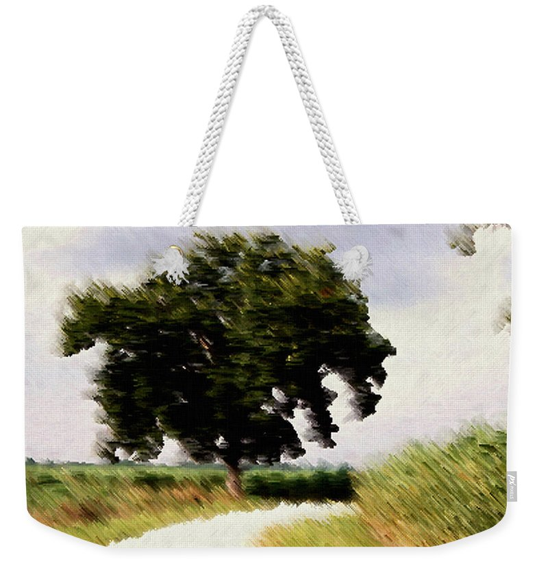 Breeze Weekender Tote Bag featuring the digital art Wind Motif Old Dam Road by RC DeWinter