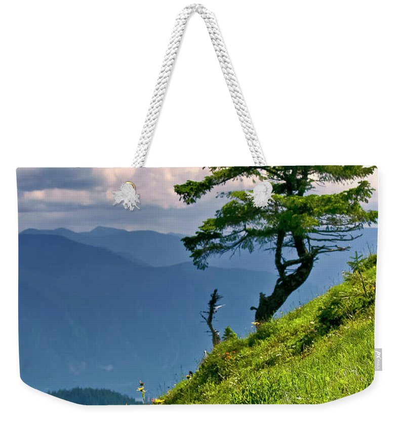 Northwest Mountains Weekender Tote Bag featuring the photograph Wind Sculpted Conifer by Albert Seger