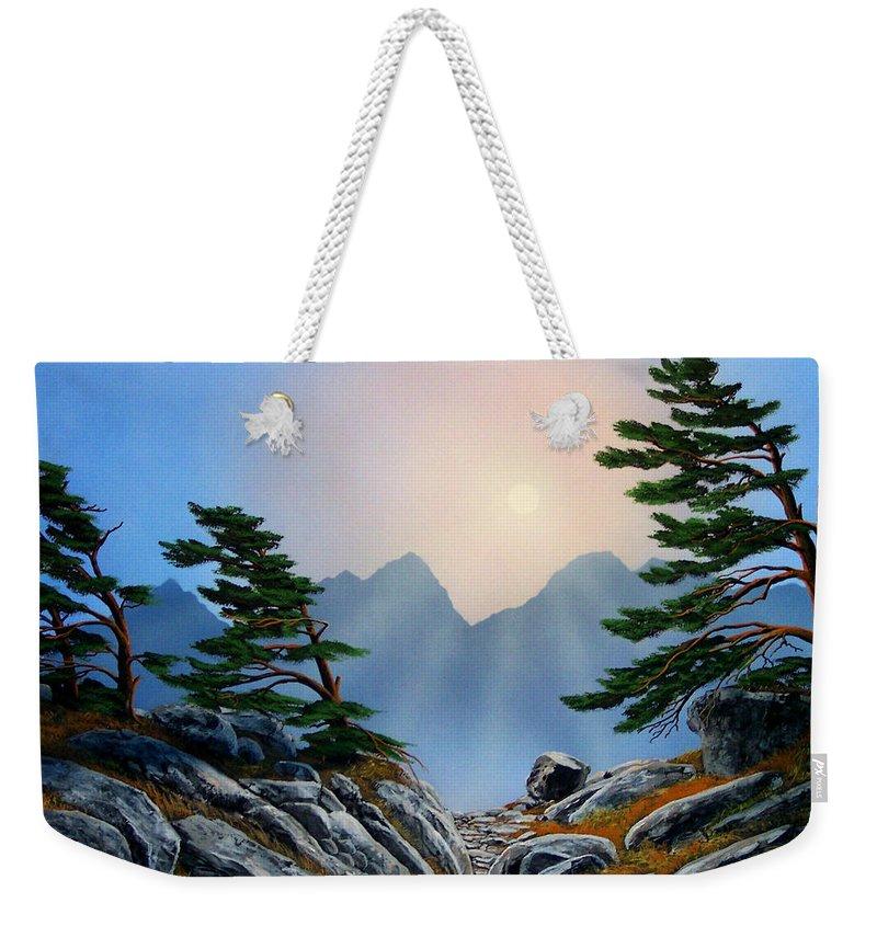 Windblown Pines Weekender Tote Bag featuring the painting Windblown Pines by Frank Wilson