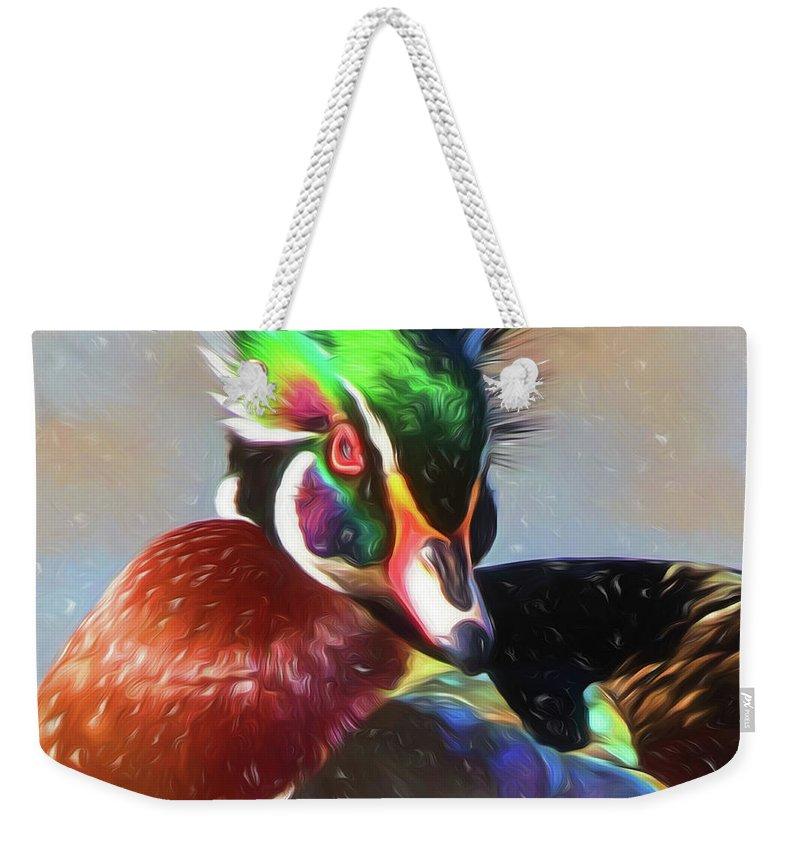 Wood Duck Weekender Tote Bag featuring the digital art Windblown Wood Duck by Allen Kurth