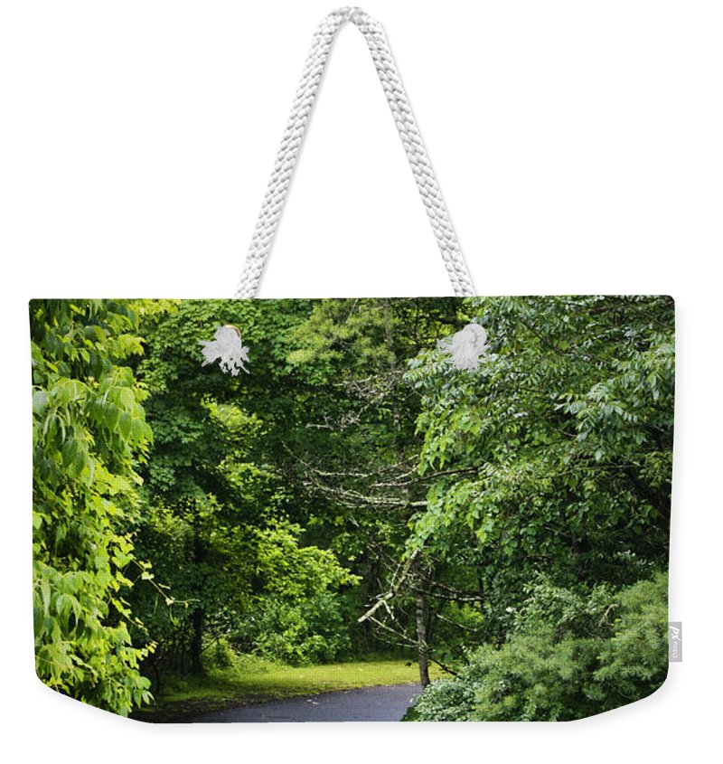 Rain Weekender Tote Bag featuring the photograph Winding Road Bluestone State Park West Virginia by Teresa Mucha