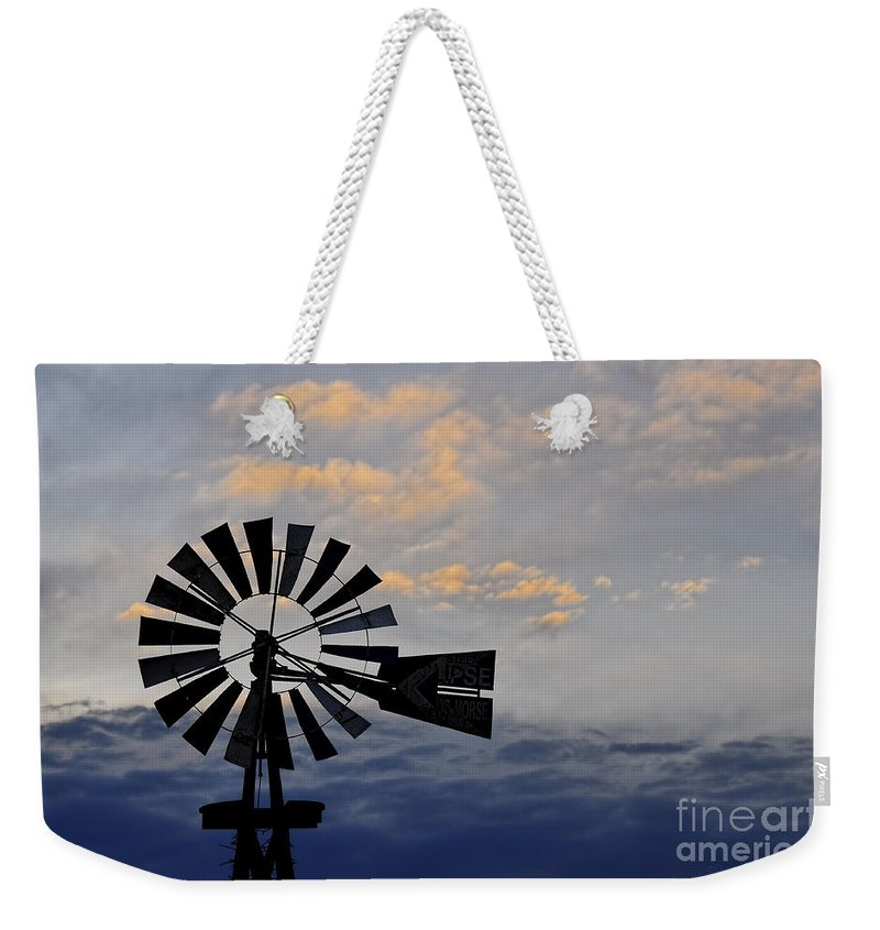 Windmill Weekender Tote Bag featuring the photograph Windmill And Cloud Bank At Sunset by David Arment