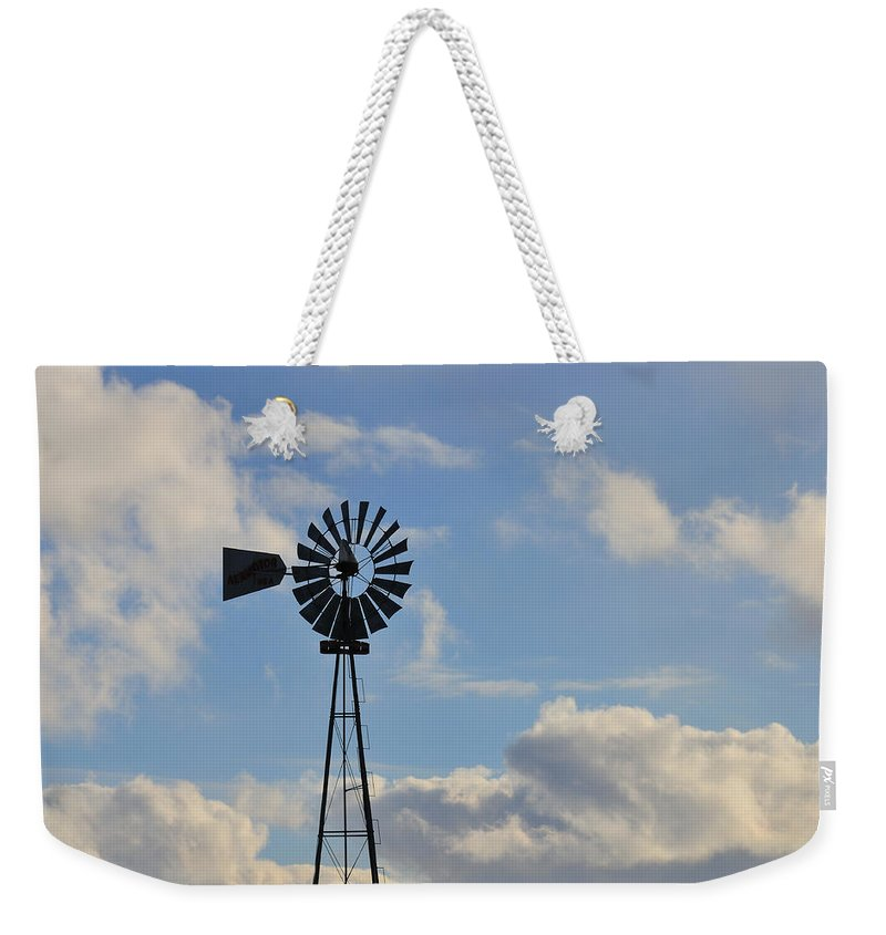 Windmill Weekender Tote Bag featuring the photograph Windmill And Sky by David Arment