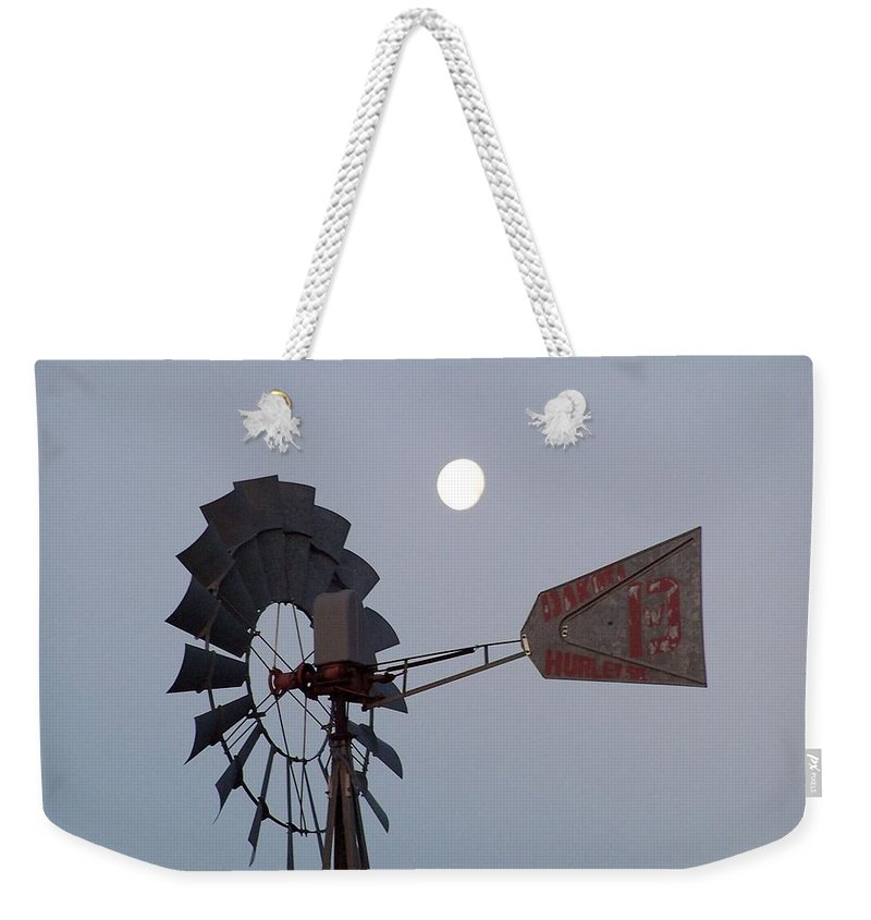 Windmill Weekender Tote Bag featuring the photograph Windmill Moon by Gale Cochran-Smith