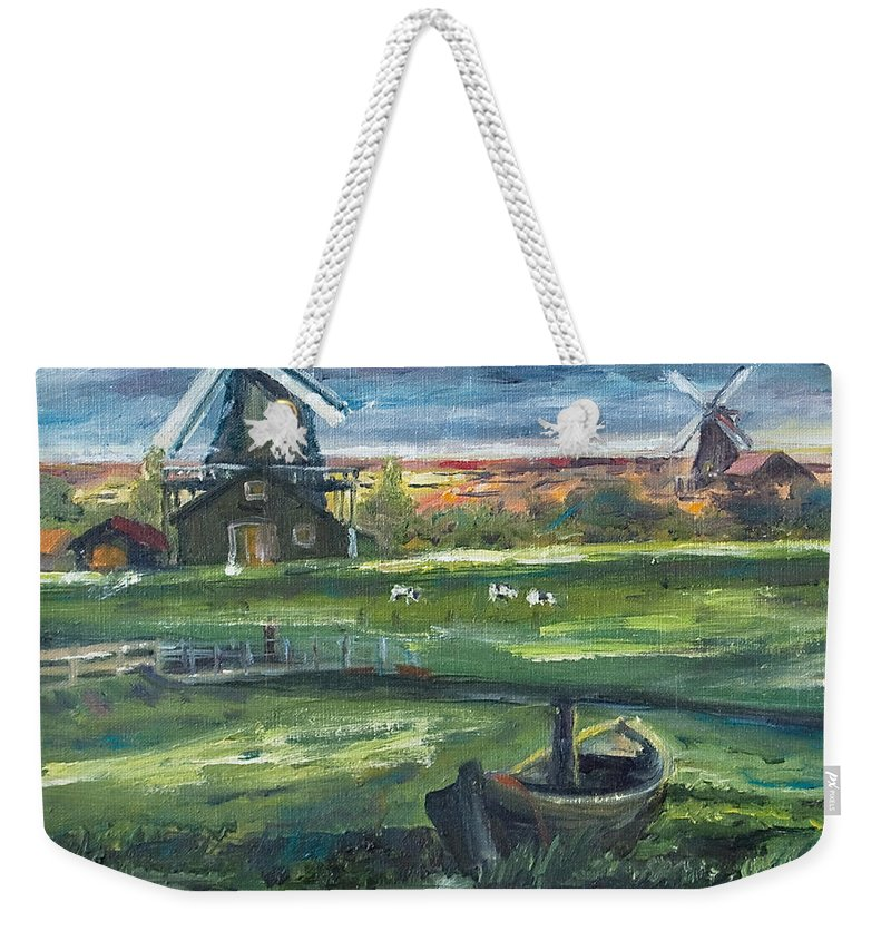 Water Weekender Tote Bag featuring the painting Windmills by Rick Nederlof