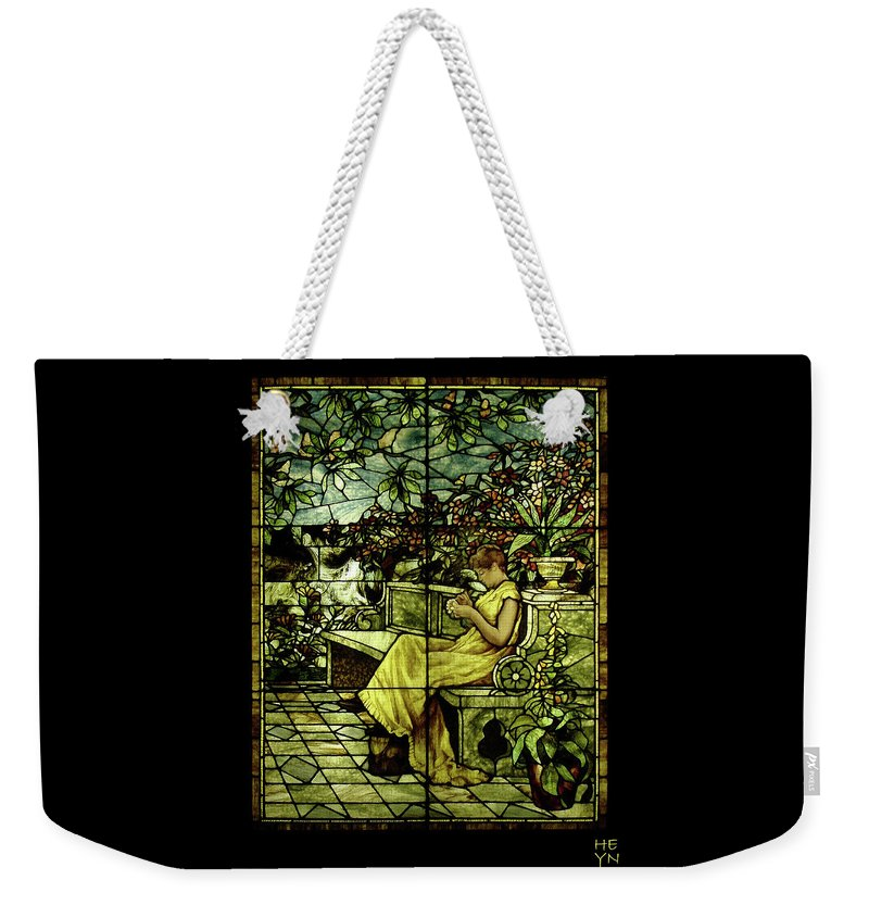 Stain Weekender Tote Bag featuring the photograph Window - Lady In Garden by Shirley Heyn