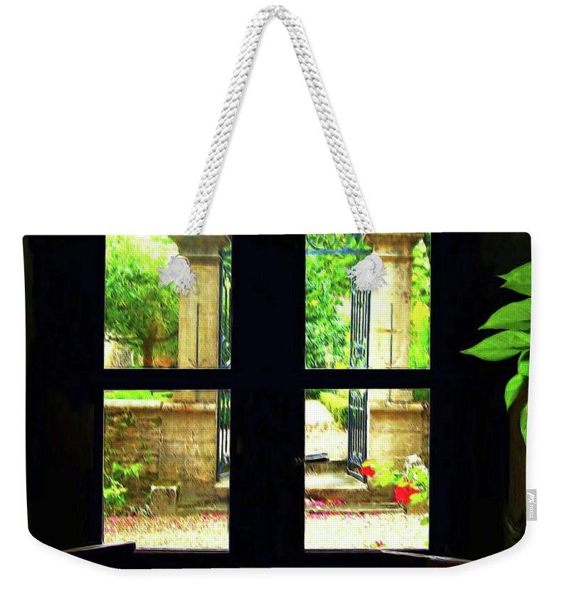 Botanical Weekender Tote Bag featuring the digital art Window And Roses by Joan Minchak