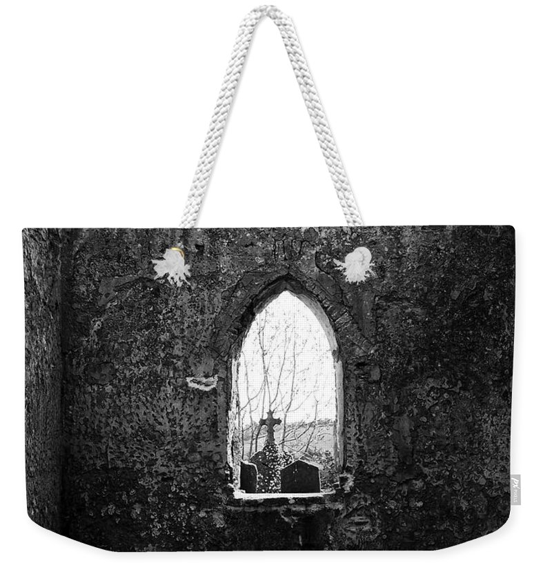 Ireland Weekender Tote Bag featuring the photograph Window at Fuerty Church Roscommon Ireland by Teresa Mucha