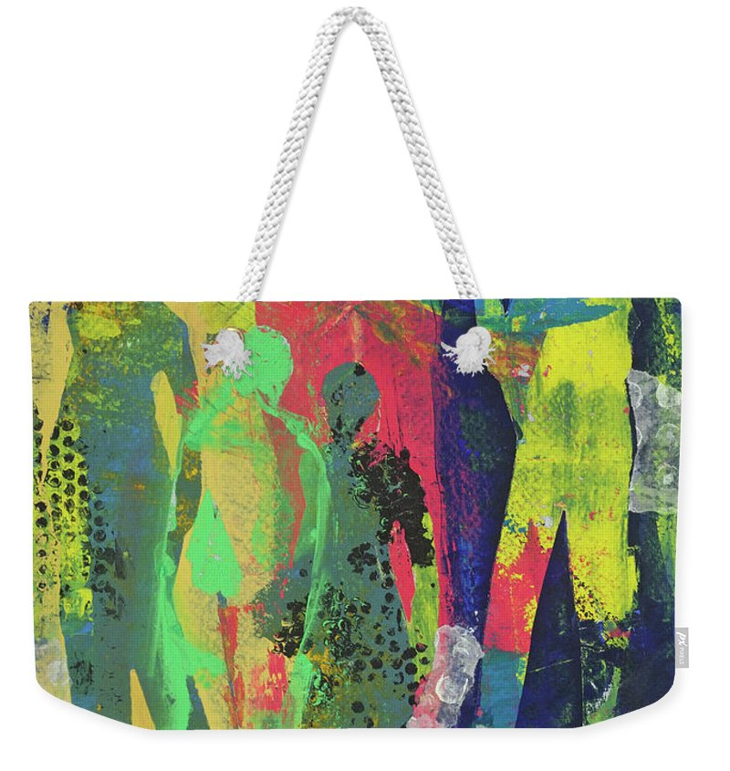 Abstract Figurative Mixed Media Cathy Hirsh Weekender Tote Bag featuring the painting Window Display by Cathy Hirsh