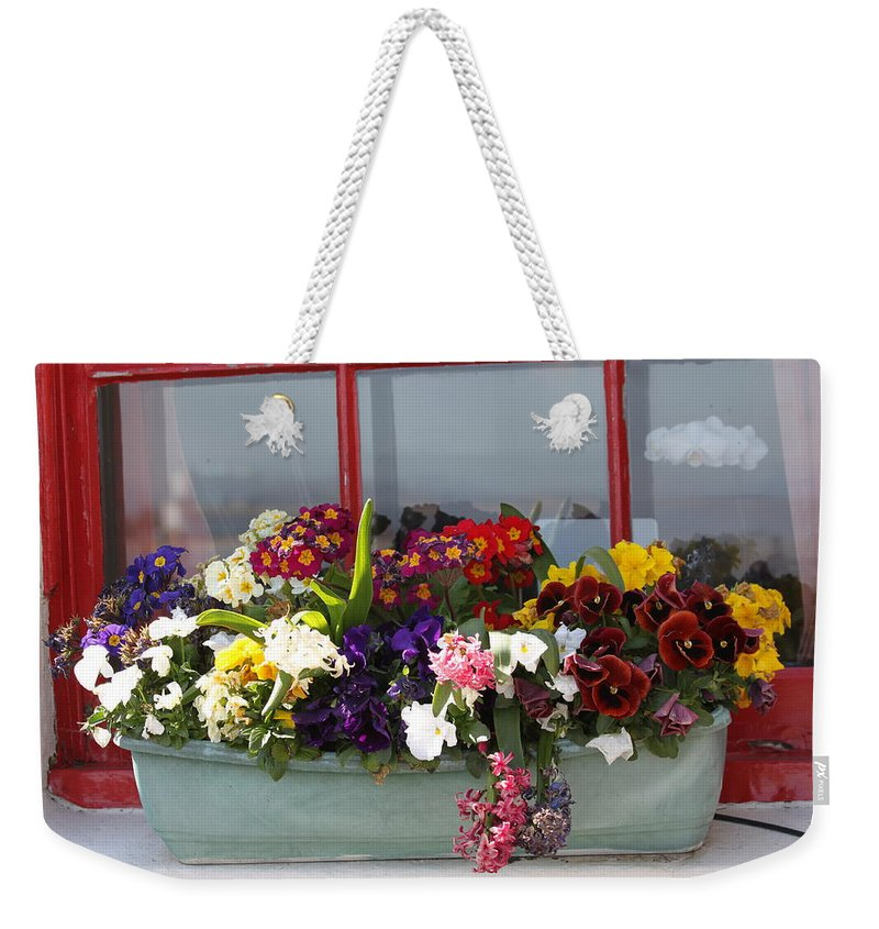 Flowers Weekender Tote Bag featuring the photograph Window Flowers by Lauri Novak