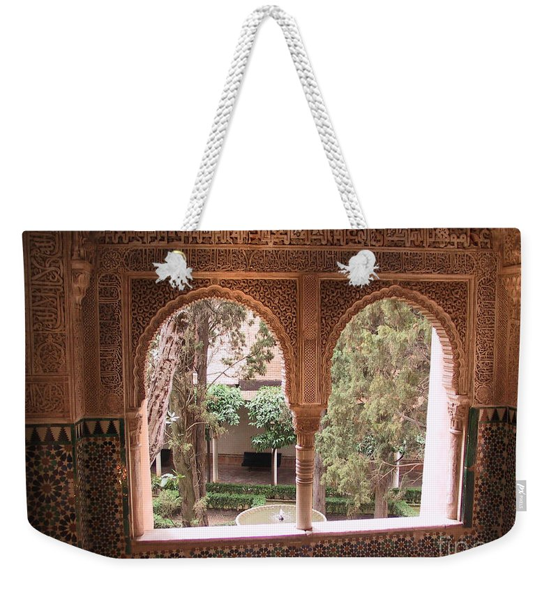 Window Weekender Tote Bag featuring the photograph Window In La Alhambra by Thomas Marchessault