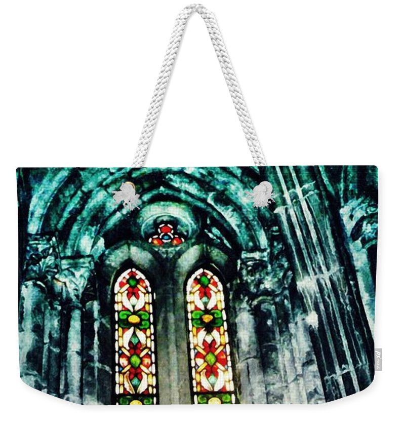 Window Weekender Tote Bag featuring the photograph Window In The Lisbon Cathedral by Sarah Loft