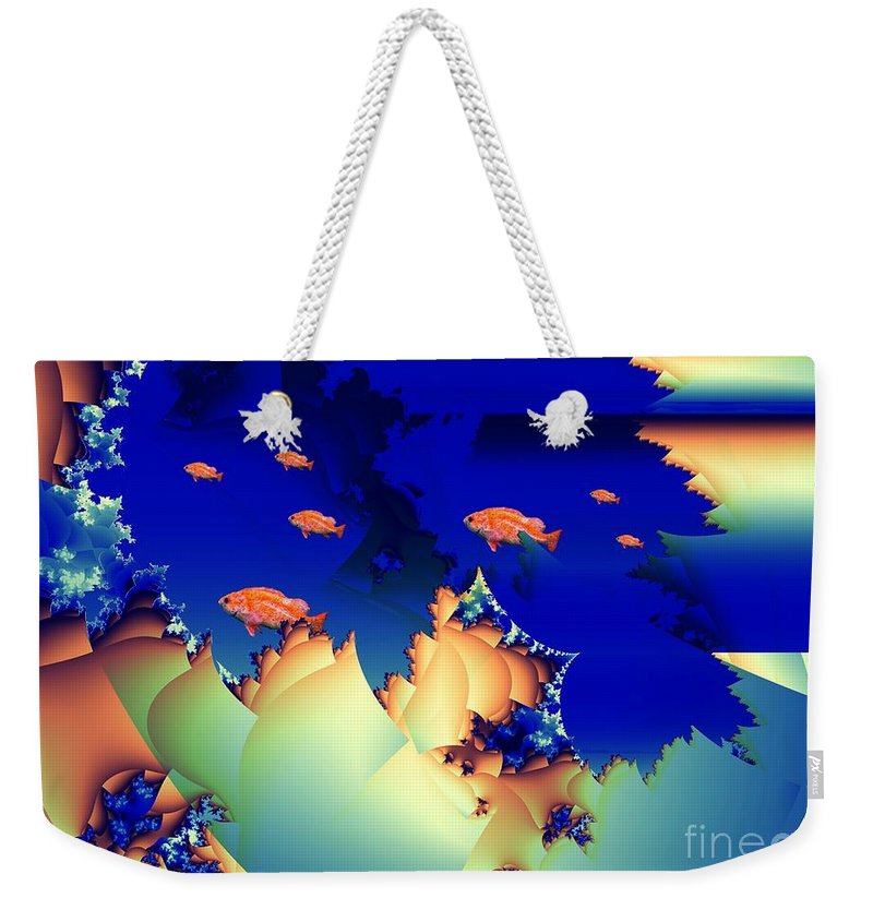 Undersea Weekender Tote Bag featuring the digital art Window On The Undersea by Ron Bissett