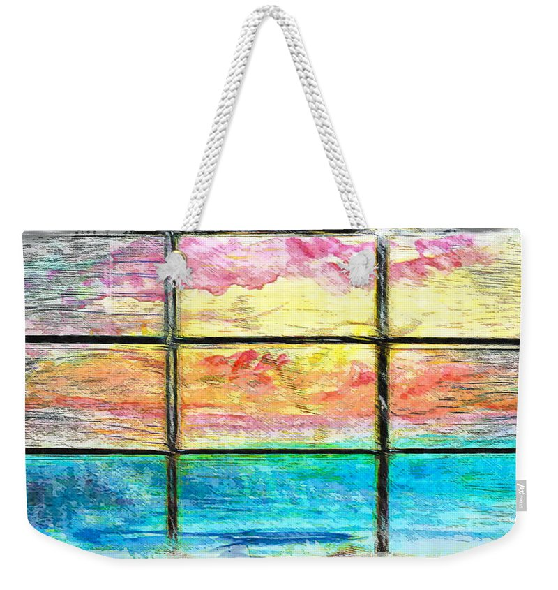 Abstract Weekender Tote Bag featuring the photograph Window Scene Abstract by Tom Gowanlock