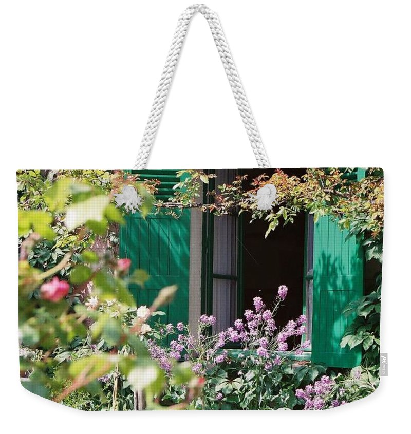 Charming Weekender Tote Bag featuring the photograph Window To Monet by Nadine Rippelmeyer