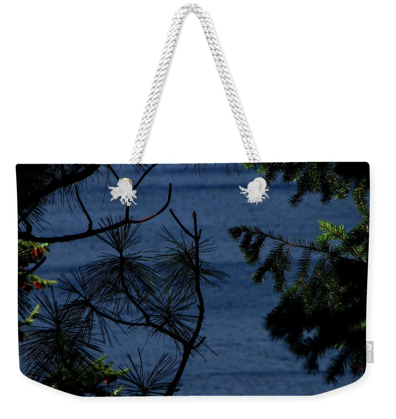 Patzer Weekender Tote Bag featuring the photograph Window To The River by Greg Patzer