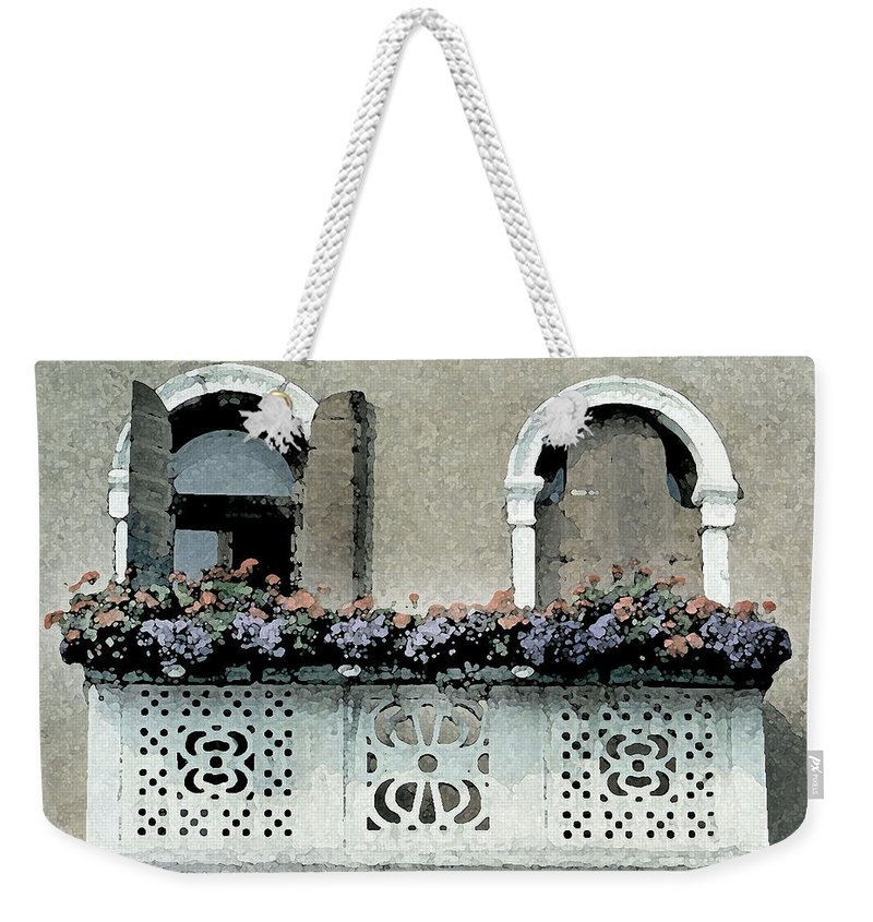 Italian Art Weekender Tote Bag featuring the digital art Window With A View by Donna Corless