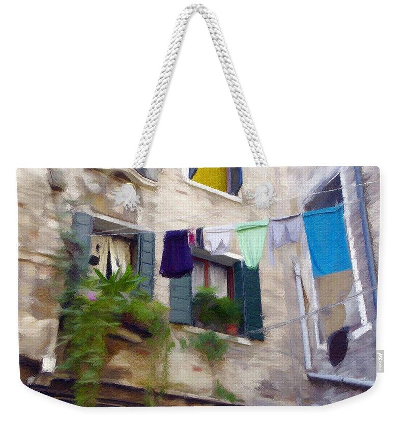 Window Weekender Tote Bag featuring the painting Windows Of Venice by Jeffrey Kolker