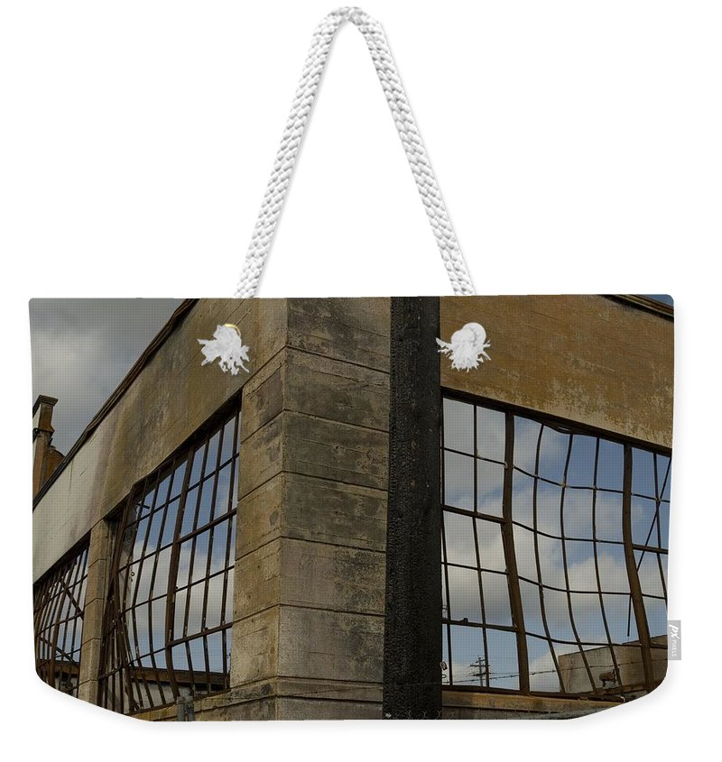 Fire Weekender Tote Bag featuring the photograph Window's Pain by Sara Stevenson