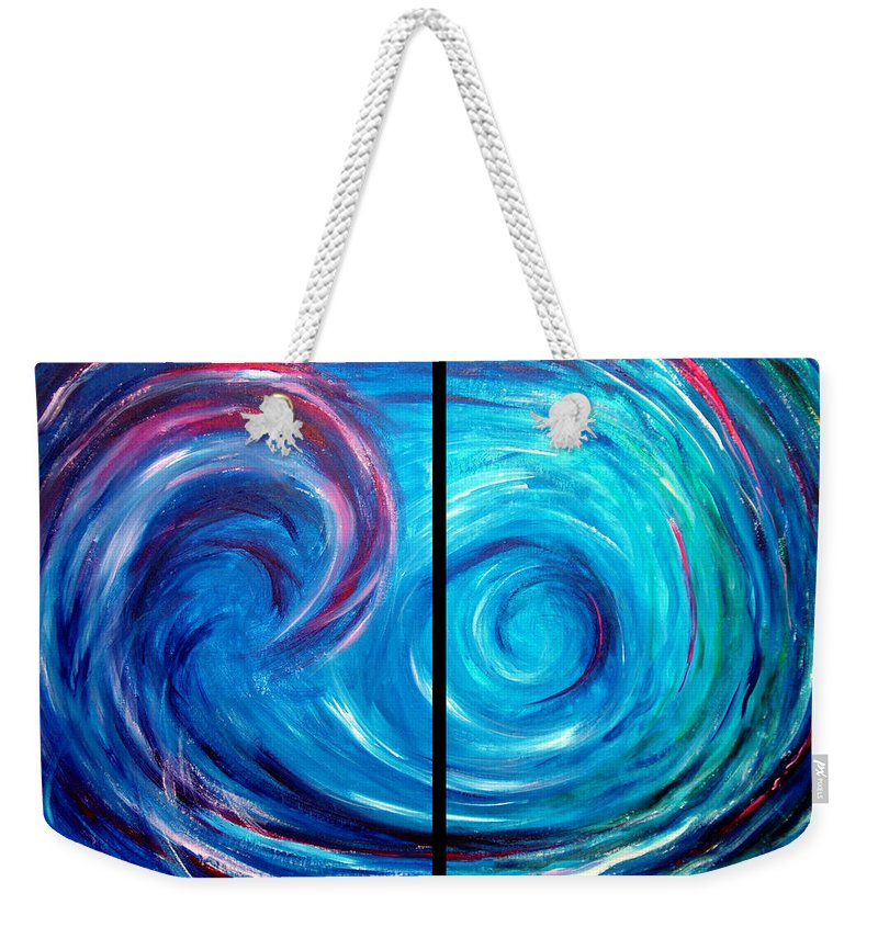 Blue Weekender Tote Bag featuring the painting Windswept Blue Wave And Whirlpool 2 by Nancy Mueller