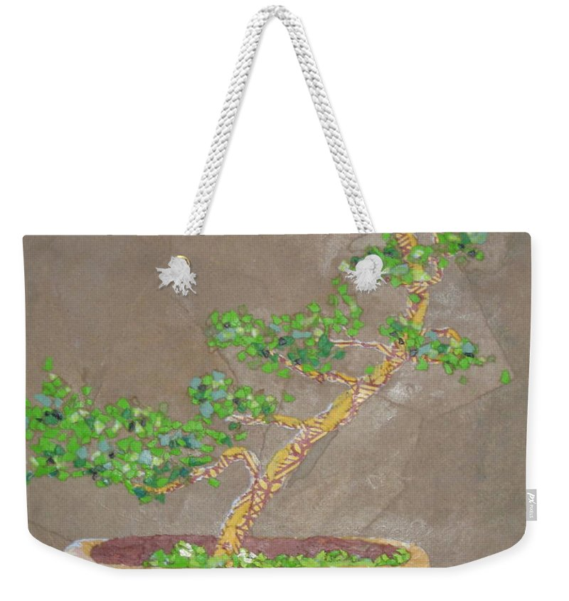 Banzai Tree Weekender Tote Bag featuring the painting Windswept Juniper by Leah Tomaino