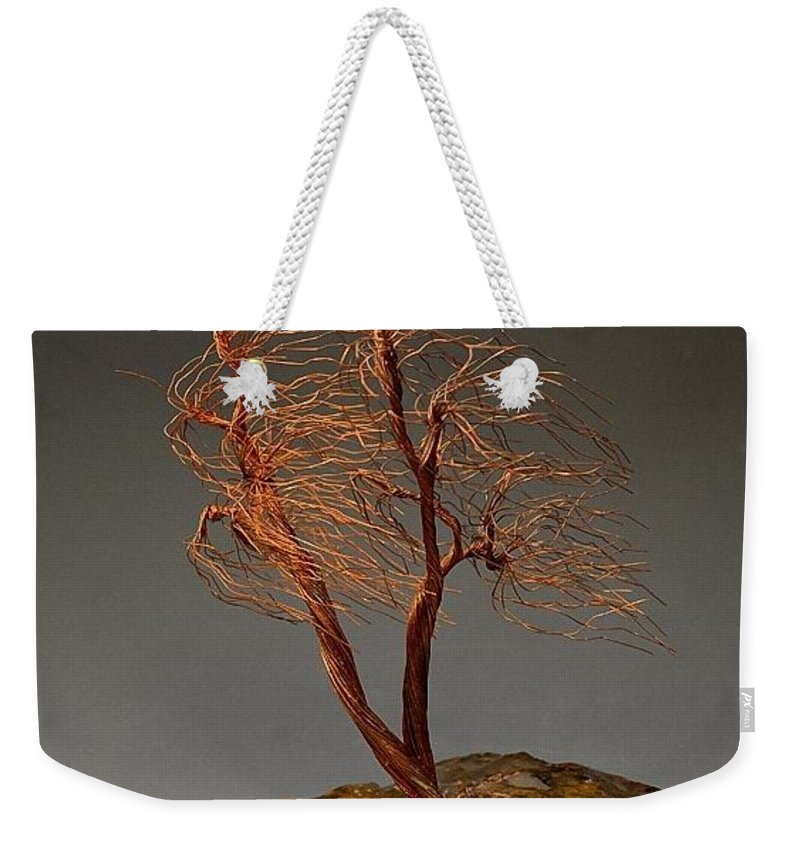 Wire Tree Sculpture Weekender Tote Bag featuring the sculpture Windswept  Weeping Willow Copper Wire Tree Art 2a413abe346bf
