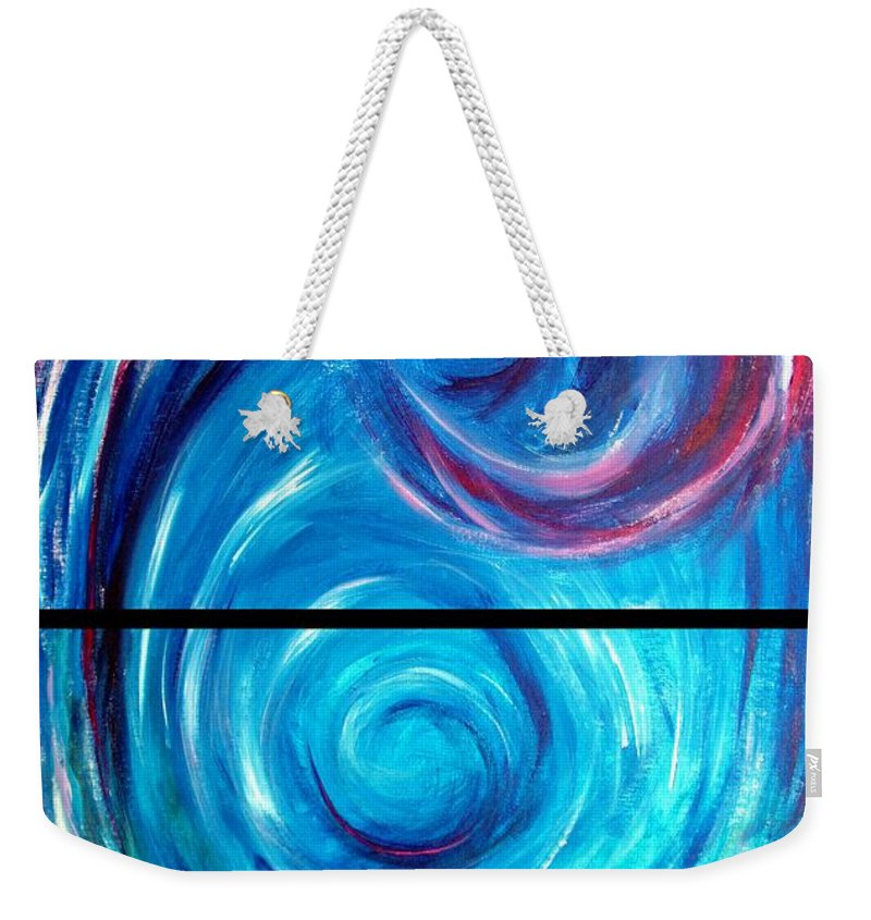 Blue Weekender Tote Bag featuring the painting Windwept Blue Wave And Whirlpool Diptych 1 by Nancy Mueller