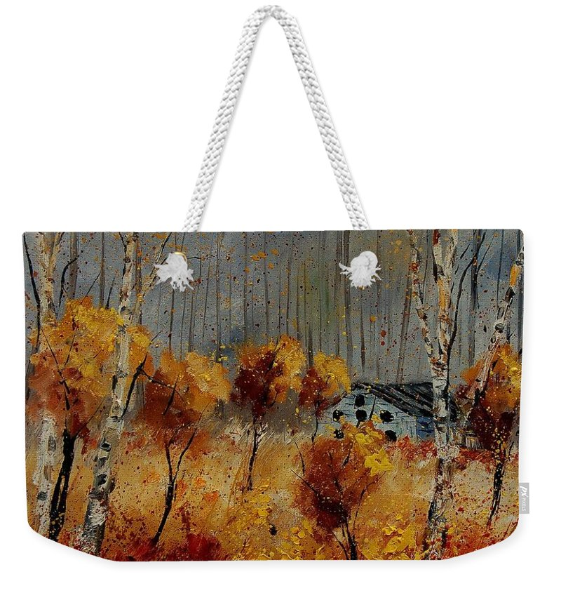 Tree Weekender Tote Bag featuring the painting Windy Autumn Landscape by Pol Ledent