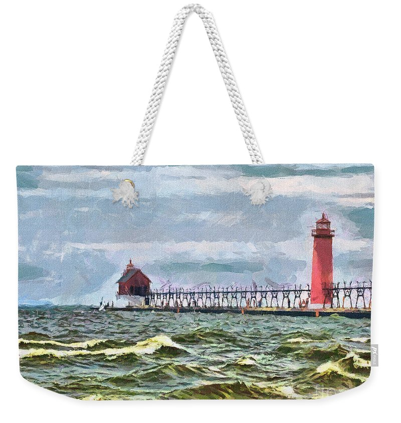 Lighthouse Weekender Tote Bag featuring the photograph Windy Day At Grand Haven Lighthouse by Betsy Foster Breen