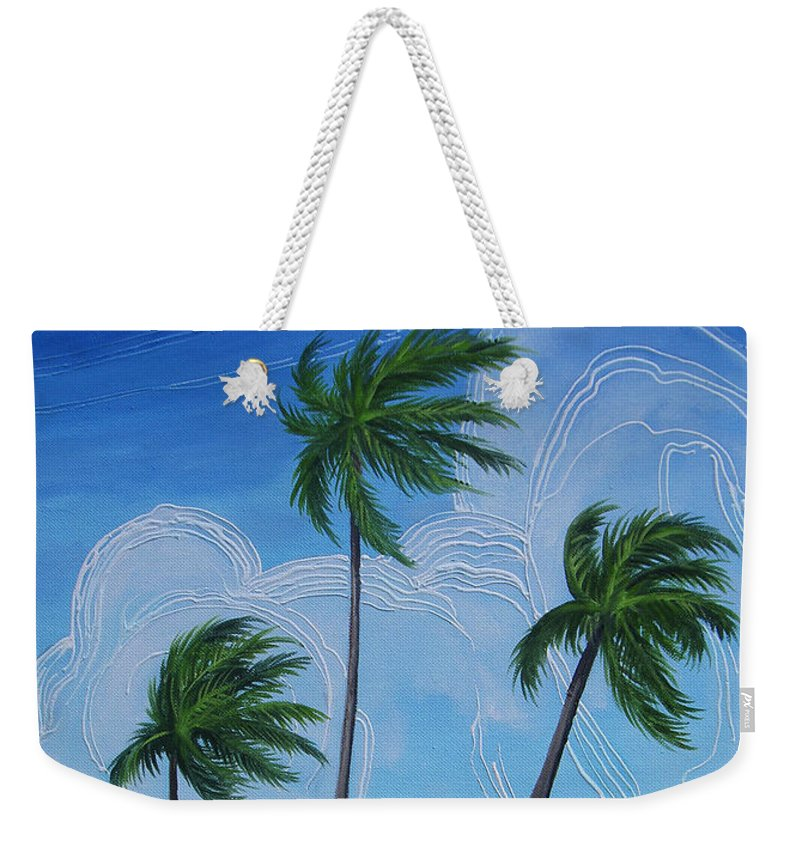 Palms Weekender Tote Bag featuring the painting Windy Palms by Juan Alcantara
