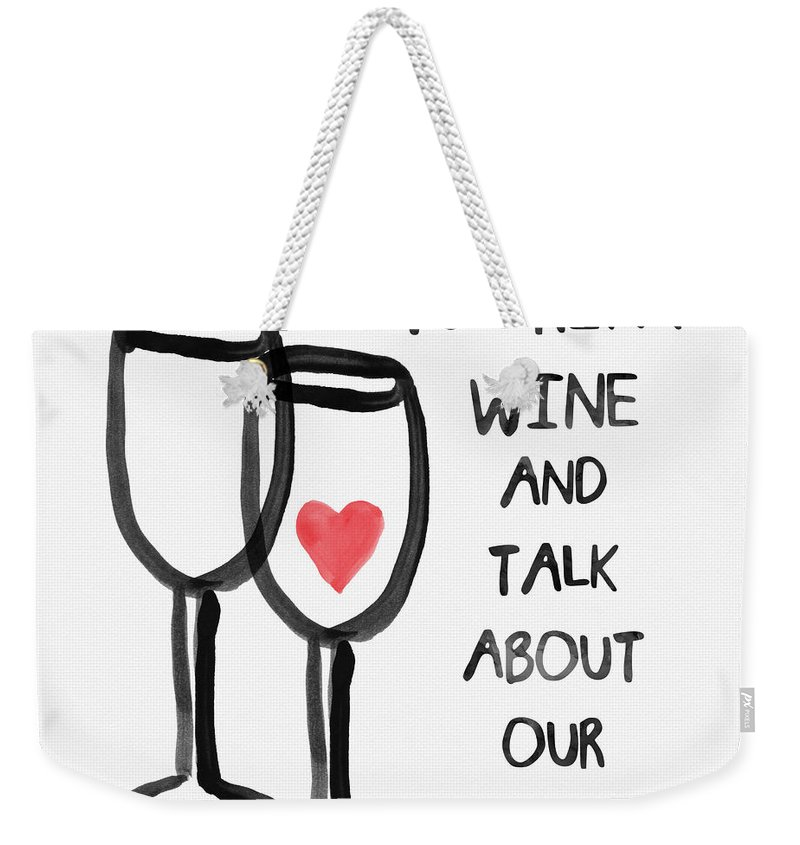 Wine Weekender Tote Bag featuring the painting Wine And Cats- Art By Linda Woods by Linda Woods