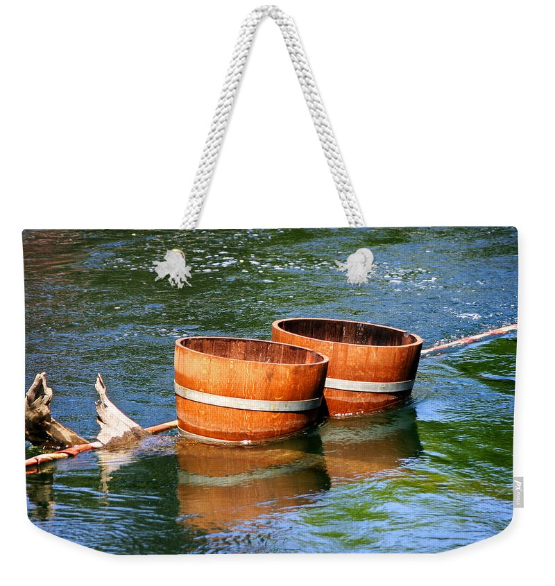 Wine Barrels Weekender Tote Bag featuring the photograph Wine Barrels by Anthony Jones