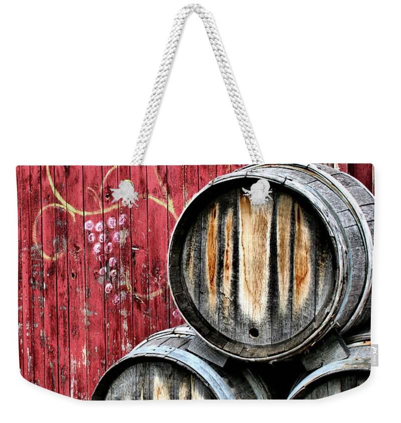 Wine Weekender Tote Bag featuring the photograph Wine Barrels by Doug Hockman Photography