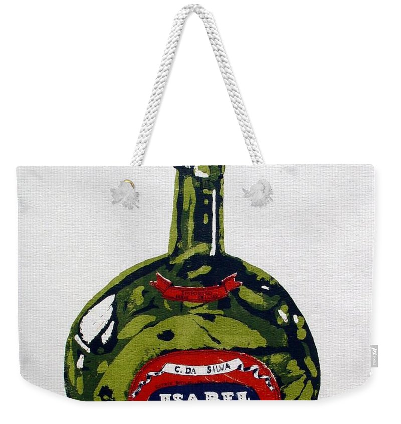 Silk Screen Weekender Tote Bag featuring the mixed media Wine Bottle by Ron Bissett