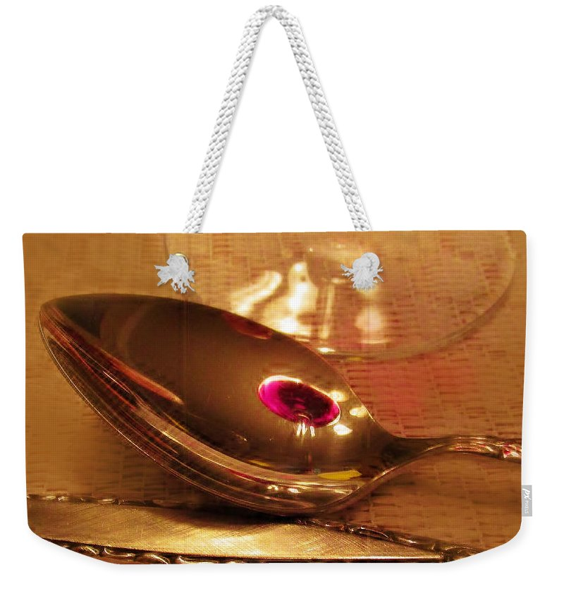 Spoon Weekender Tote Bag featuring the photograph Wine In The Spoon by Ian MacDonald