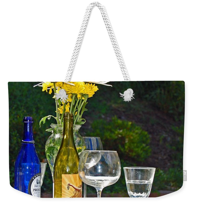 Wine Weekender Tote Bag featuring the photograph Wine Me Up by Debbi Granruth