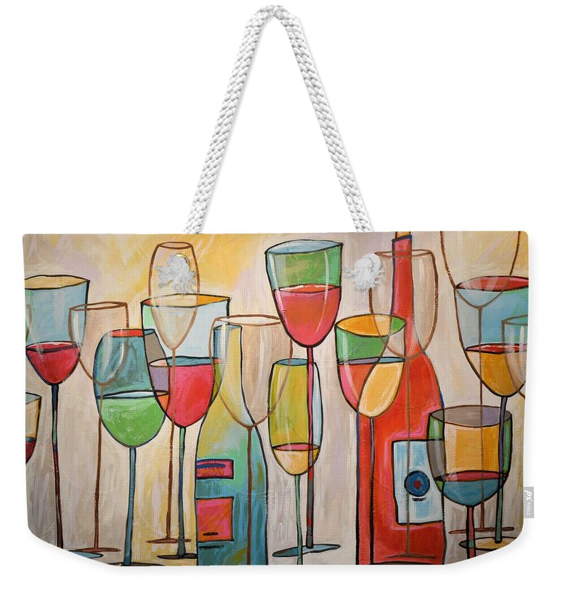 Wine Weekender Tote Bag featuring the painting Wine Tasting by Amy Giacomelli