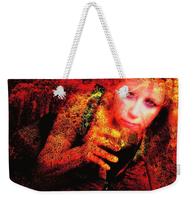 Clay Weekender Tote Bag featuring the photograph Wine Woman And Fall Colors by Clayton Bruster