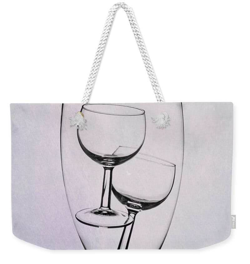 Wine Weekender Tote Bag featuring the photograph Wineglass Trio by Tom Mc Nemar